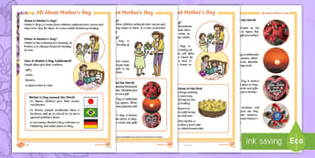 KS1 Mother's Day Fact File - mother's day, Mother's Day, mothers day, Mothers day, Mum, Mummy, Mother, Develop pleasure in read