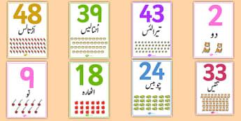 0-50 Number Word Image Posters Urdu - urdu, display, sign, zero, fifty, numbers, maths, letters, early years, KS1, KS2