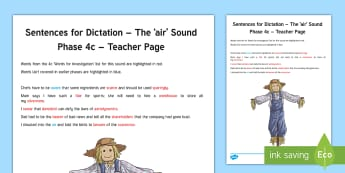 Northern Ireland Linguistic Phonics Stage 5 and 6, Phase 4c, 'air' Dictation Sentences Activity Sheet - NI, Irish, Sound Search, Word Sort, Investigation, Phoneme, Grapheme, Letter
