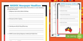 NAIDOC Week Newspaper Headlines Activity - Literacy, Aboriginal, Indigenous, recount,Australia