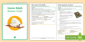 Islamic Beliefs: Revision Booklet - Islam, Tawhid, Allah, Qur'an, Angels, afterlife, shia, sunni