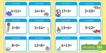 20以内数字加法练习卡片 - 20以内,加法练习