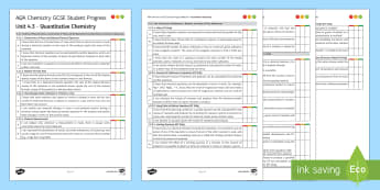 AQA Chemistry Unit 4.3 Quantitative Chemistry Student Progress Sheet - Student Progress Sheets, AQA, RAG sheet, Unit 4.3 Quantitative Chemistry