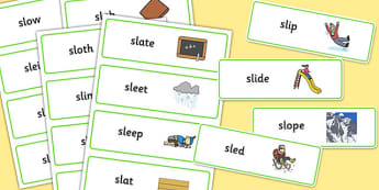SL Word Cards - sen, sound, special educational needs, sl, word cards