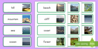 Natural Environment Geography Word Cards - Landforms, Display, Circle Time, Vocabulary cards, Geography Vocabulary, Independent Writing, Social