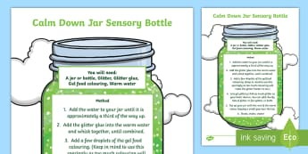Calm Down Jar Sensory Bottle - emotions, self regulation, chill out, calming, feelings,Australia