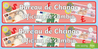 * NEW * Bureau de Change Display Banner - English / Spanish - Bureau de Change Display Banner - Travel agent, holiday, travel,  Display, Posters, Freize, holidays
