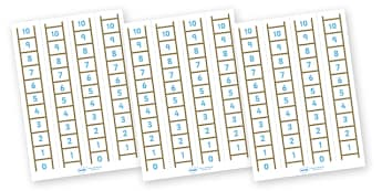 Number Ladder (0-10) - Maths, Math, number ladder, numbertrack, numberline, counting, Number line, Counting on, Counting back