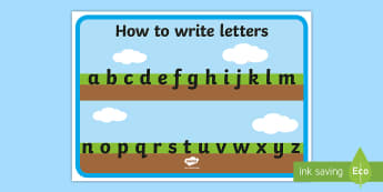Ground, Grass and Sky Alphabet Display Poster  - How to Write Letters Display Banner - Ground, Grass and Sky - Images) - Display banner, writing, how