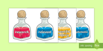 LKS2 Working Scientifically Scientific Vocabulary on Potion Bottles Word Cards - LKS2 Working Scientifically Scientific Vocabulary Cards - science, sceince, scince, Sience, scienec,