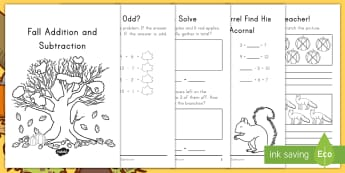Fall Addition and Subtraction Activity Booklet - Fall, Addition, subtraction, Activity Booklet, Fall activity booklet, word problems
