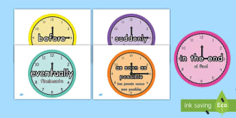 Time Conjunctions on Clocks US English/Spanish (Latin)  - Time Conjunctions on Clocks - time, connectives, clock, after, display, poster,  as soon as, before,