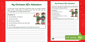 KS1 Christmas Elf Adventure Writing Activity - The Elf on a Shelf, christmas, christmas story writing, christmas adventure, creative writing, past