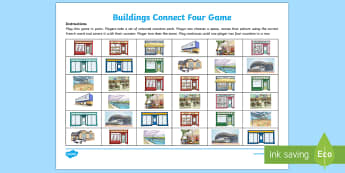 Buildings Connect Four Game French - KS2, French, Resources,buildings, places, town, shops, magasins, ville, game, connect four