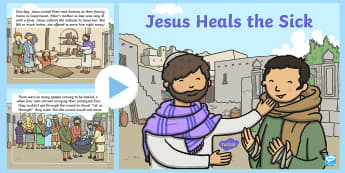 Jesus Heals a Paralysed Man Bible PowerPoint Story - Jesus, God, bible, story, stories, better, heal, cure, miracle, paralysed man