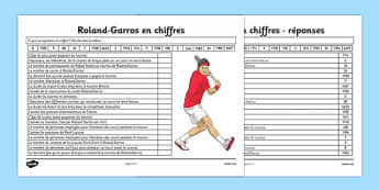 Roland-Garros en chiffres - Roland-Garros in Numbers Worksheet / Activity Sheet French - french, roland-garros, french opens, stadium, activity, number, worksheet