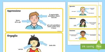 Schede sulle Caratteristiche delle Emozioni - caratteristiche, delle, emozioni, espressioni, schede, attivita, italiano, italian