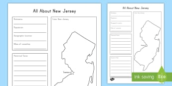 All About New Jersey Research Activity Sheet - New Jersey, New Jersey History, New Jersey Social Studies, New Jersey Geography, New Jersey Research