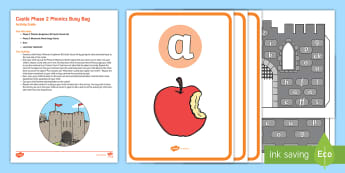 Castle Phase 2 Phonics Busy Bag Resource Pack for Parents - Grapheme, Satpin, Phoneme, Reading, Knights, Medieval.