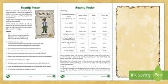 Design a Bounty Poster Activity Pack - what are sound stories, sound story, sound stories, pirates, bounty, poster, pirate ships,