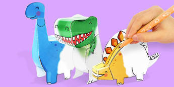 3D Dinosaur Paper Model Activity Pack - dinosaur, dino, colour