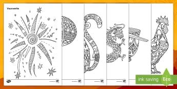 Sjinese Nuwe Jaar Inkleur bladsye - Januarie, fees, vier, tradisies, potlood, kryt, potloodbeheer, fynmotories