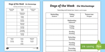 Days of the Week Yesterday and Tomorrow Activity Sheet English/German - weekend, today, vocabulary, calendar, EAL, German, English-German,,German-translation