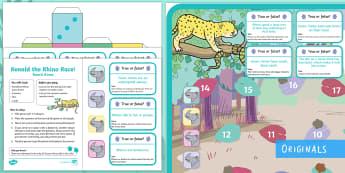 Ronald the Rhino Board Game - Children's Books, Ronald, Ronald the Rhino, story, friendship, unique, python, leopard, reflection,