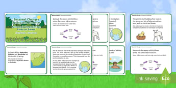 Seasonal Changes Spring and Summer Fact Cards English/Afrikaans - seasons, weather, warm, nature, countries, seisoene, EAL