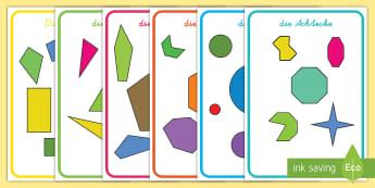 Normale und unregelmäßige, geometrische Figuren Poster für die Klassenraumgestaltung - Geometrie, Formen, geometrisch, regelmäßig, Dreieck, Viereck, Quader, Kreis,German