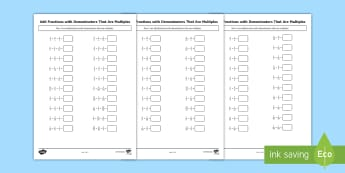 Year 5 Add Fractions with Denominators that are Multiples Differentiated Activity Sheets - Year 5, Y5, adding fractions, add fractions.
