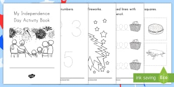 Independence Day Fine Motor Skills Activity Booklet - 4th July, tracing, numbers, letters, pencil control, fireworks, holidays, events