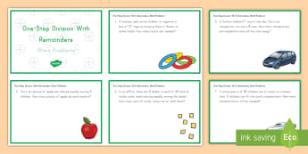 One Step Division With Remainders Word Problem Challenge Cards - math, challenge cards, division, one-step