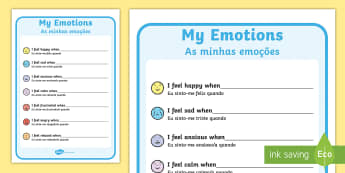 My Emotions Writing Template English/Portuguese - My Emotions Writing Template - feelings, emotions, SEN, class management, emtions, pictures of peopl