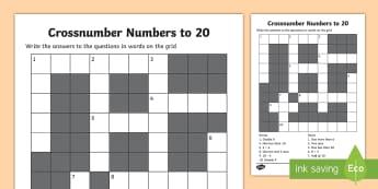 KS1 Numbers to 20 Crossnumber Worksheet / Activity Sheet - Crossword, across, down, puzzle, game, worksheet