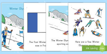 Winter Olympics Emergent Reader - Vocabulary, Early Reader, High Frequency Words