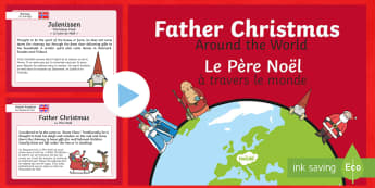 Father Christmas Around the World PowerPoint English/French - christmas, world, santa, japan, france, russia, cultures, reindeer