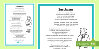 Zacchaeus Song - ROI - Hymns and Religious Songs, Music, Hymns, Communion, Confirmation, First Confession, Confession