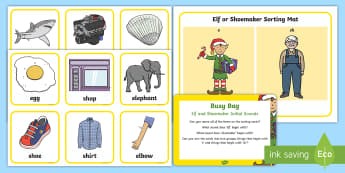 Initial Sounds Elf and Shoemaker e and sh Busy Bag Prompt Card and Resource Pack - The Elves and the Shoemaker, traditional tales, Christmas, phase 2 phonics, elf, letter sounds, init