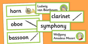 Classical Period Music Word Cards - classical, period, music