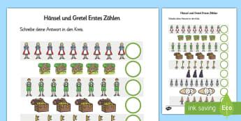 Hänsel und Gretel Arbeitsblatt: Erstes Zählen - Hänsel und Gretel, Märchen, Erstes Zählen, Zählen, German