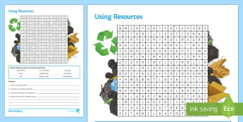 Using Resources Word Search - bioleaching, phytomining, potable water, sustainability, finite