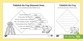 Tiddalick the Frog Diamante Poem Writing Template - Australian Aboriginal Dreamtime Stories- Aboriginal Poems