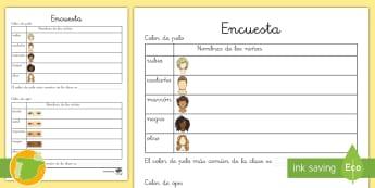 Ficha de matemáticas:  Encuesta de pelo y ojos de la clase - cuerpo, salud, proyecto, area tematica, transcurricular,Spanish