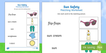 Sun Safety Word and Picture Matching Activity - sun safety, word