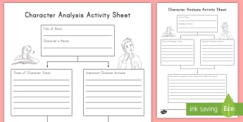 Character Analysis Activity Sheet - R.L.3.3, RL3.3, Character Traits, Character Actions, reading response, read to self, worksheet