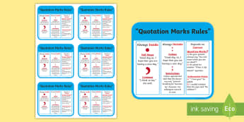 Quotation Marks Rules Flashcards - rules for quotation marks, punctuation, using quotation marks, ks2