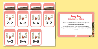 Little Red Hen Adding Busy Bag Prompt Card and Resource Pack