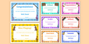 Music Award Certificate - Music Award, certificate, recorder, reward, award, certificate, medal, rewards, school reward