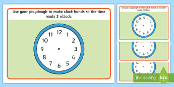 O'Clock Time Playdough Mats   - clocks, analogue, hands, hour, minutes, telling the time